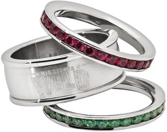 Logoart LogoArt Minnesota Wild Stainless Steel Crystal Stack Ring Set