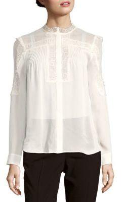 Haute HippieScalloped Neck Silk Lace Shirt