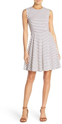 French Connection 'Bacongo' Dot Stretch Cotton Fit & Flare Dress $148 thestylecure.com
