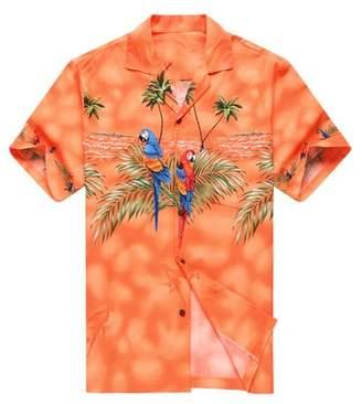 Hawaii Hangover Made in Hawaii Men's Hawaiian Shirt Aloha Shirt Orange with Matching Front Parrots