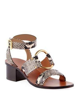 Chloé Rony Snake-Embossed Cutout Lace-Up Sandals