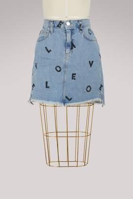 Current/Elliott Current Elliott High-waisted printed denim skirt