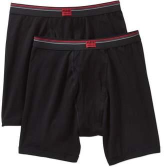 Jockey Life by Men's flex black cotton stretch long leg boxer brief, 2 pack