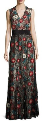 Alice + Olivia Sleeveless Embroidered Lace Column Gown, Black/Multicolor $995 thestylecure.com