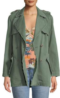 Le Superbe Eye C U Embroidered Double-Breasted Trench Coat