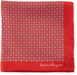 Salvatore Ferragamo Solid-Border Gancini Silk Pocket Square, Red