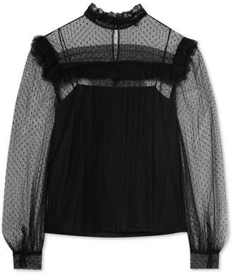 Miu Miu Ruffled Point D'esprit Tulle Blouse - Black