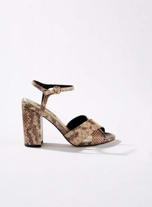 Miss Selfridge Hadara brown cross over block heeled sandals