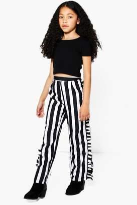 boohoo Girls Stripe Side Ruffle Trouser