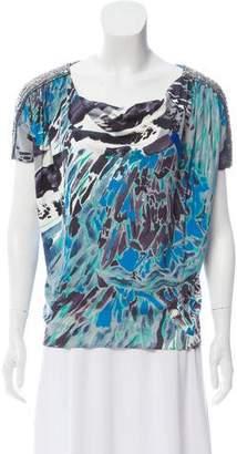 Emilio Pucci Silk Embellished Short Sleeve Top