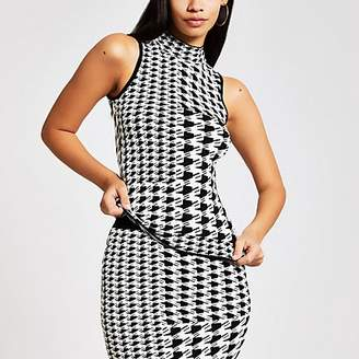 River Island White dogtooth check roll neck tank top