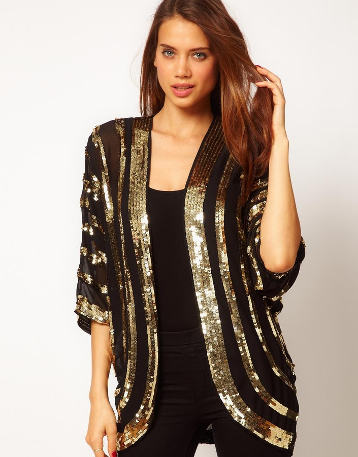 Asos Embellished Kimono With Sequin Stripes