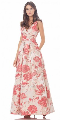 Carmen Marc Valvo Infusion Floral Print A Line Prom Dress $475 thestylecure.com