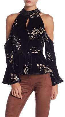 Romeo & Juliet Couture Velvet Cold Shoulder Blouse