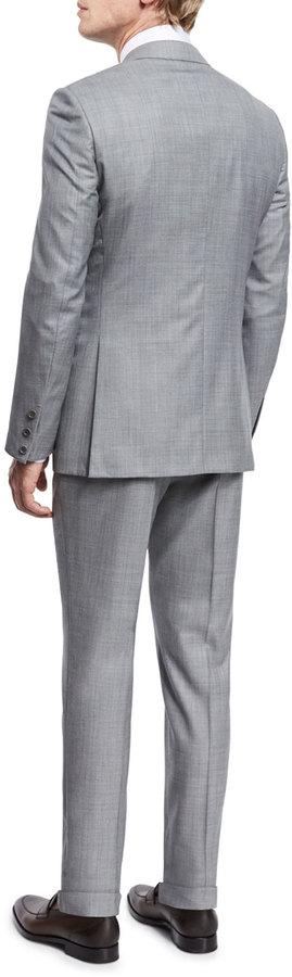 Ermenegildo Zegna Sharkskin Two-Piece Trofeo® Wool Suit, Light Gray 3
