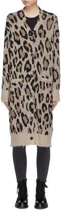 R 13 Leopard intarsia long cashmere cardigan
