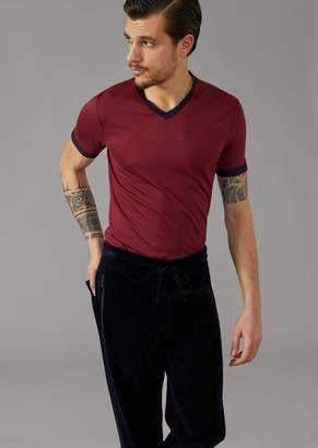 Giorgio Armani T-Shirt In Silk And Viscose Jersey