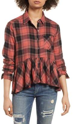 BP Plaid Peplum Shirt