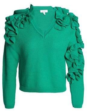 DELPOZO Ruffled Waffle-Knit Sweater