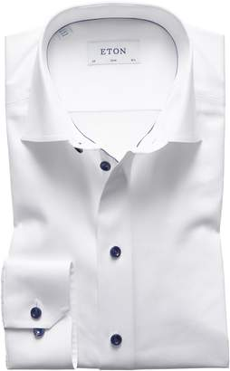 Eton Slim Fit Twill Dress Shirt with Grey Details
