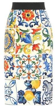 Dolce & Gabbana Printed stretch-silk skirt