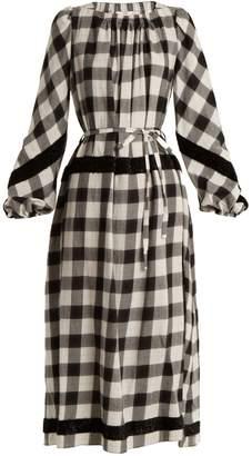 Tibi Tie-waist checked cotton-blend dress