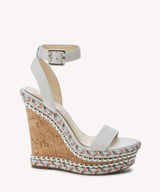 Jessica Simpson Women's Alinda Ankle Strap Platform Wedges Bright White Size 5 Leather From Sole Society
