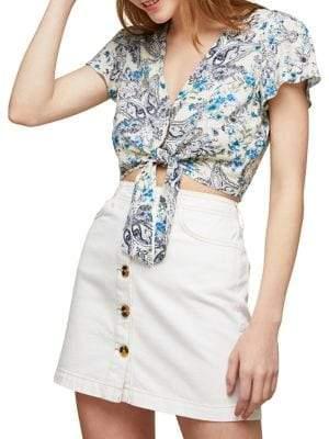 Miss Selfridge Cropped Tie Hem Top