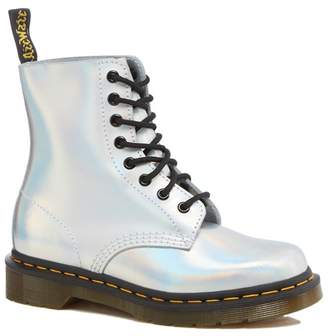 Dr. Martens Silver Leather 'Pascal Iced Metallic' Lace Up Boots