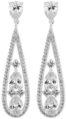 Jon Richard Silver Crystal Teardrop Drop Earrings