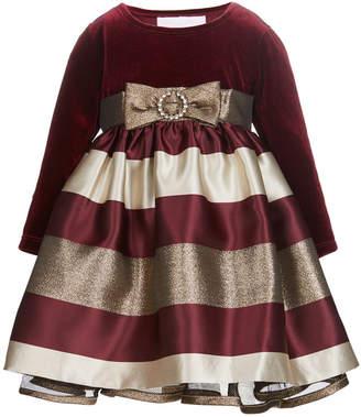 Bonnie Baby Baby Girls Velvet Jacquard Dress