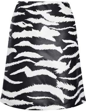 Versace Coated Zebra-Print Satin-Twill Mini Skirt