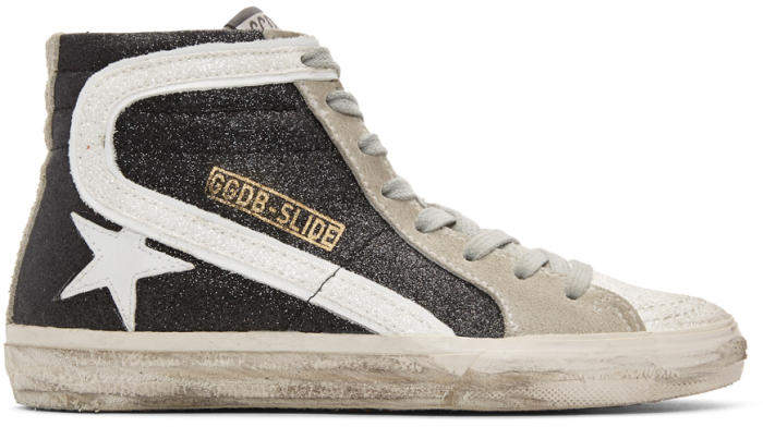 Golden Goose Deluxe Brand Black Glitter Slide High-Top Sneakers