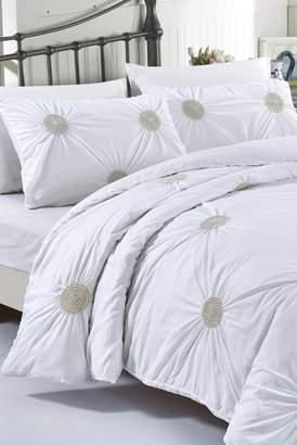 California Design Den by NMK King Tahiti Pearls Duvet Cover Set - White\u002FMetallic Gold