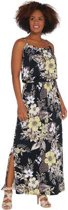 Susan Graver Petite Printed Liquid Knit Maxi Dress