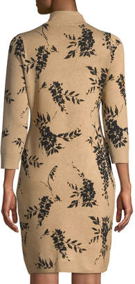 Iconic American Designer Long-Sleeve Floral Sweater Dress