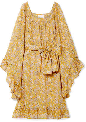 Lisa Marie Fernandez Anita Floral-print Cotton-voile Dress - Saffron