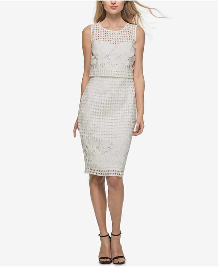Guess Lattice Lace Popover Sheath Dress