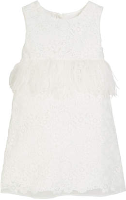 Charabia Special Occasion Feather-Trim Lace Dress, Size 10-12
