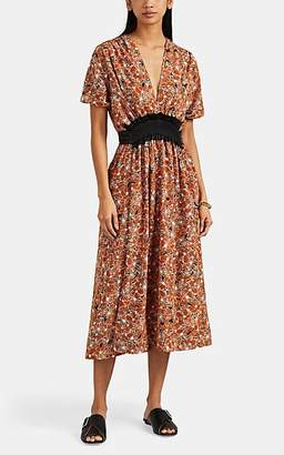 Cédric Charlier Women's Floral Matte Satin Belted Midi-Dress - Black Pat.