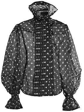 Marc Jacobs Women's Runway Polka Dot Silk Organza Ruffle Collar Blouse - Size 0