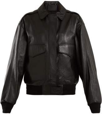 Patch-pocket leather jacket