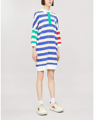 Benetton Striped collared cotton polo mini dress