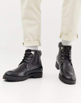 Truffle Collection Lace Up Hiker Boot in Black