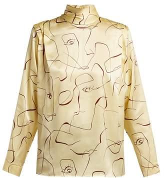 Roksanda Aulna Abstract Print Silk Blouse - Womens - Yellow Multi