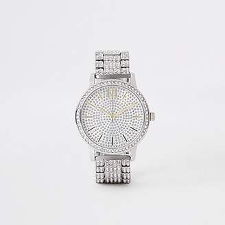 River Island Silver diamante pave chain link watch