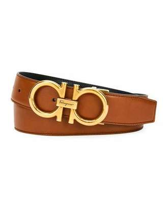 Salvatore Ferragamo Men's Double-Gancio Reversible Leather Saddle Belt