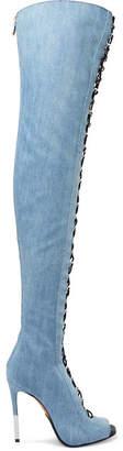 Balmain Campbel Denim Thigh Boots - Mid denim