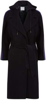 Sandro Longline Stripe-Trim Coat