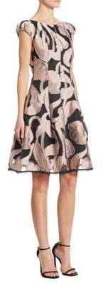 Talbot Runhof Marbled Fit-&-Flare Dress